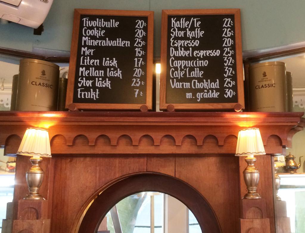Coffecorner menu